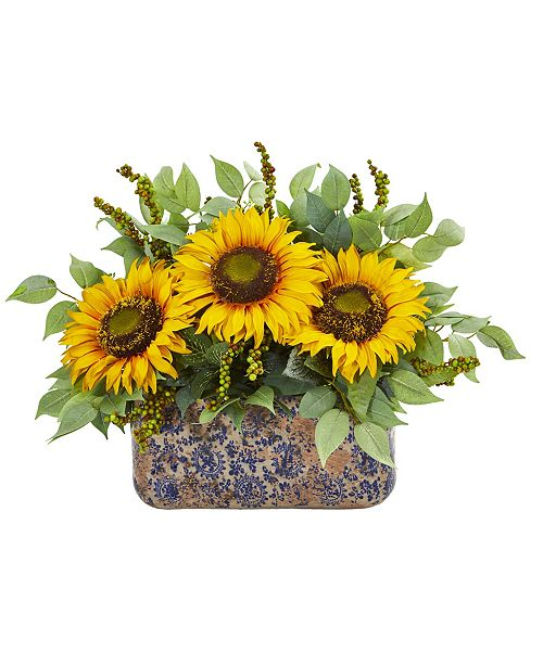 Nearly Natural Sunflower and Mixed Greens Artificial Arrangement in Vase