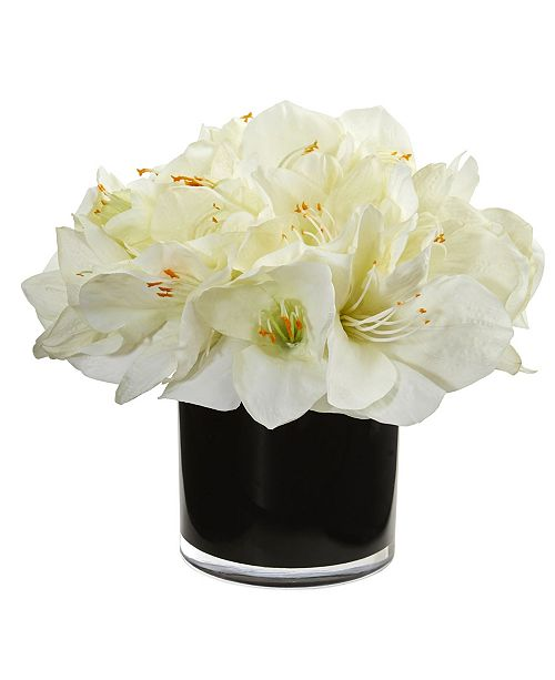 Nearly Natural Amaryllis Artificial Arrangement in Glossy Cylinder