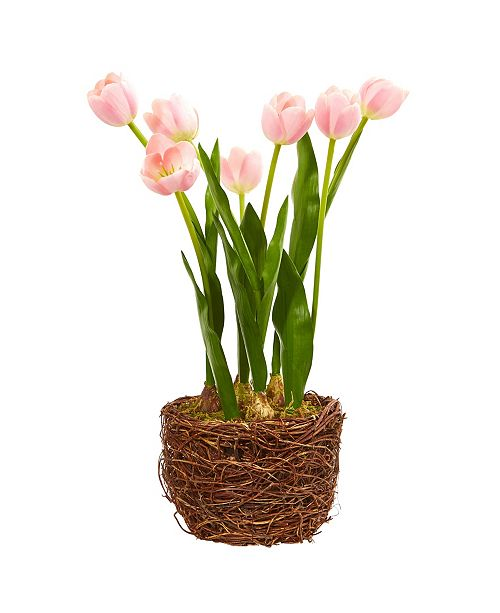 Nearly Natural Tulip Artificial Arrangement in Twig Vase