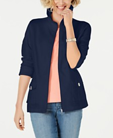 Karen Scott Zip-Up 3/4-Sleeve Jacket, Created for Macy's