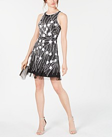 Embellished Mesh Sheath Dress