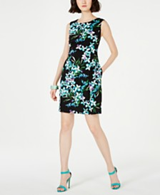 Connected Petite Draped Floral-Print A-Line Dress