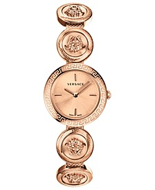 Women's Swiss Medusa Stud Icon Rose Gold Ion-Plated Bracelet Watch 28mm