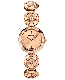 Versace Women's Swiss Medusa Stud Icon Rose Gold Ion-Plated Bracelet Watch 28mm