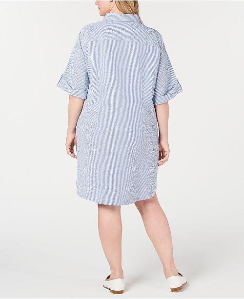 Blue Scott grande Tailles Karen seersuckercree Comb Robes en pourAvis Chamb taille Robe eHbYD2EIW9