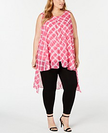 Plus Size Sleeveless Printed High-Low Top