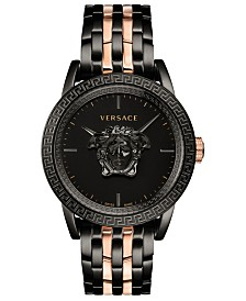 Versace Men's Swiss Palazzo Empire Rose Gold & Black Ion-Plated Bracelet Watch 43mm