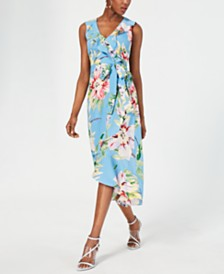 Vince Camuto Petite Floral Ruffled Midi Dress
