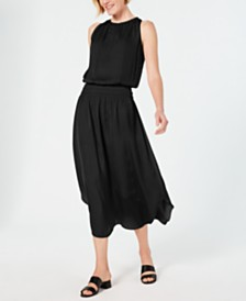 Alfani Smocked-Waist Satin Midi Dress, Created for Macy's