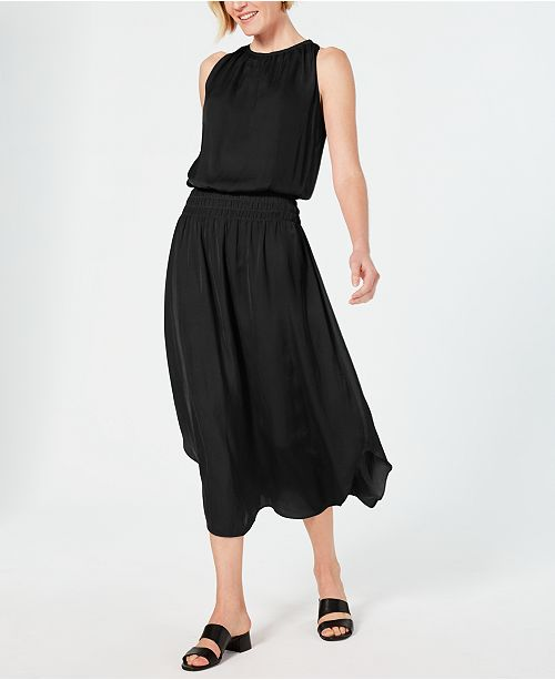 Alfani Smocked-Waist Satin Midi Dress, Created for Macy's