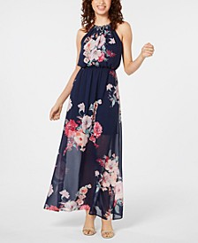 Juniors' Printed Maxi Dress and Necklace