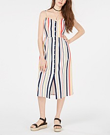 Juniors' Sleeveless Striped Midi Dress