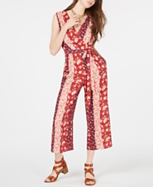 Speechless Juniors' Printed Cropped Jumpsuit