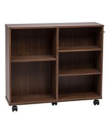 Wide Wooden Rolling Shelf