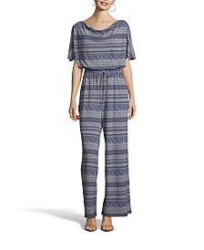 John Paul Richard Blue and Ivory Printed Jumpsuit