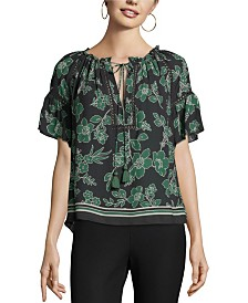 John Paul Richard Floral Print Peasant Blouse
