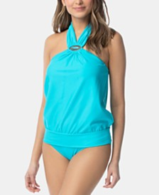 Coco Reef Maven High-Neck Bra-Sized Tankini Top & Ruched Hipster Bikini Bottoms
