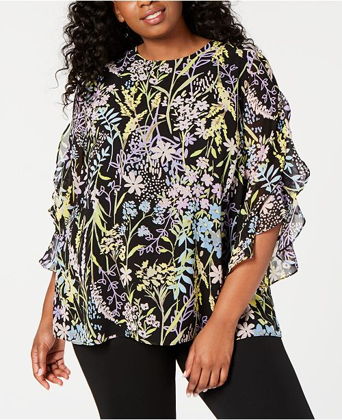 e87625acaf1 Calvin Klein Plus Size Printed Ruffle-Sleeve Top   Reviews - Tops ...