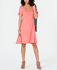 Style & Co Petite Tie-Sleeve Swing Dress, Created for Macy's
