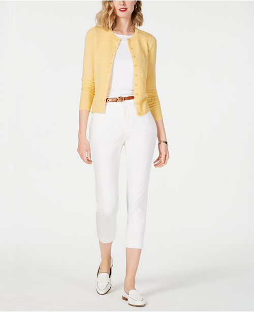 Charter Club  Solid Swing Shell, Textured Cardigan & Newport Tummy-Control Cropped Pants