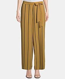 Striped Tie-Waist Ankle Pants