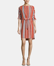 ECI Striped Tie-Waist Dress