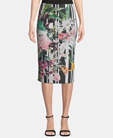 ECI Floral-Print Pull-On Skirt