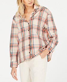 Juditta Printed Plaid Button-Front Top