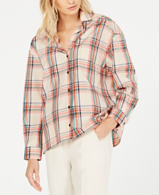Weekend Max Mara Juditta Printed Plaid Button-Front Top