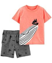Carters Toddler Boys 2 Pc Whale Print T Shirt Shorts Set