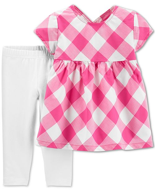 Carter's Toddler Girls 2-Pc. Gingham-Print Top & Capri Leggings Set