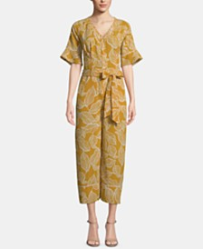 ECI Leaf-Print Belted Midi Jumpsuit