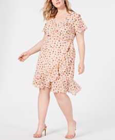 Betsey Johnson Trendy Plus Size Bug-Print Ruffled Wrap Dress