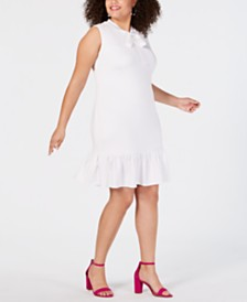 Betsey Johnson Trendy Plus Size Tie-Neck Flounce Shift Dress