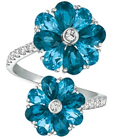 Blue Topaz (5 ct. t.w.) & Diamond (1/3 ct. t.w.) Floral Wrap Ring in 14k Gold