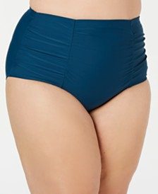 Raisins Curve Trendy Plus Size Juniors' Costa High-Waist Ruched Bikini Bottoms