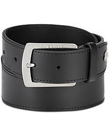 Lacoste Men's Logo Buckle Leather Belt