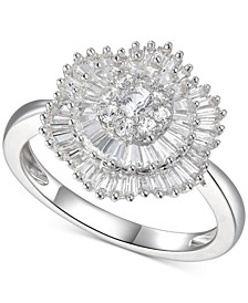Cubic Zirconia Baguette Cluster Ring in Sterling Silver