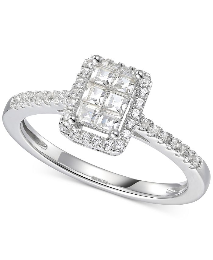 Macy's - Cubic Zirconia Square Cluster Ring in Sterling Silver