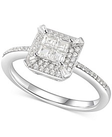 Cubic Zirconia Square Cluster Halo Ring in Sterling Silver
