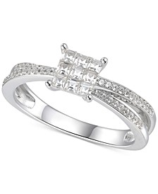 Cubic Zirconia Square Cluster Split Shank Ring in Sterling Silver