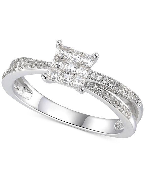 Macy's Cubic Zirconia Square Cluster Split Shank Ring in Sterling Silver