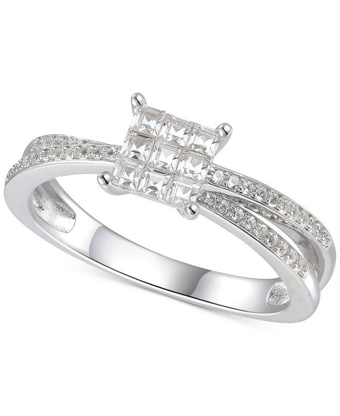 Macy's - Cubic Zirconia Square Cluster Split Shank Ring in Sterling Silver