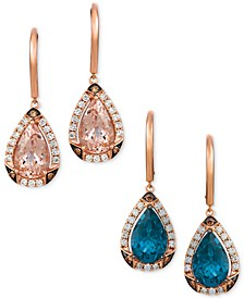 Teardrop Gemstone & Diamond Drop Earrings Collection in 14k Rose Gold