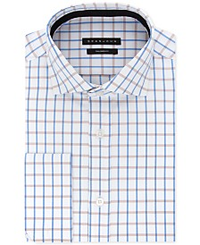 Sean John Men's Classic/Regular-Fit Blue/Tan Check French Cuff Dress Shirt