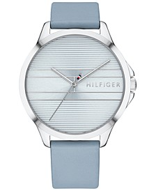 Women's  Light Blue Leather Strap Watch 38mm, Created for Macy's
