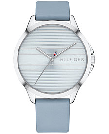 Tommy Hilfiger Women's  Light Blue Leather Strap Watch 38mm, Created for Macy's
