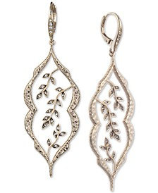 Gold-Tone Pavé Vine Statement Earrings