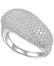 Cubic Zirconia Pavé Diagonal Statement Ring in Sterling Silver