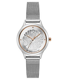 BCBGeneration Ladies Silver Mesh Bracelet Watch with Affirmation Dial